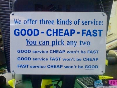 Sign reading Good Cheap Fast